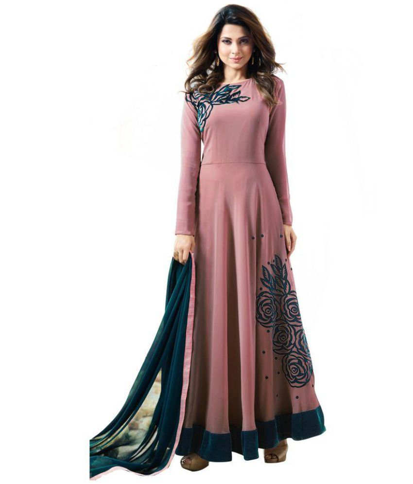 THE 9192 Brown and Black Georgette Anarkali Semi-Stitched Suit