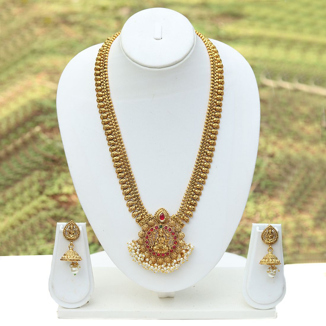 781c4add88 Green & Maroon Laxmi Temple Design Gold Plated Antique Artificial Long  Necklace With Earrings - Buy Green & Maroon Laxmi Temple Design Gold Plated  Antique ...
