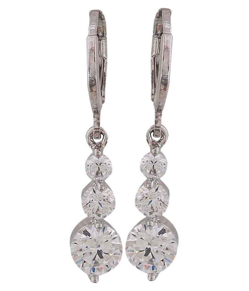 Maayra American Diamond Earrings Silver Dangler Drop Office Casualwear Earrings