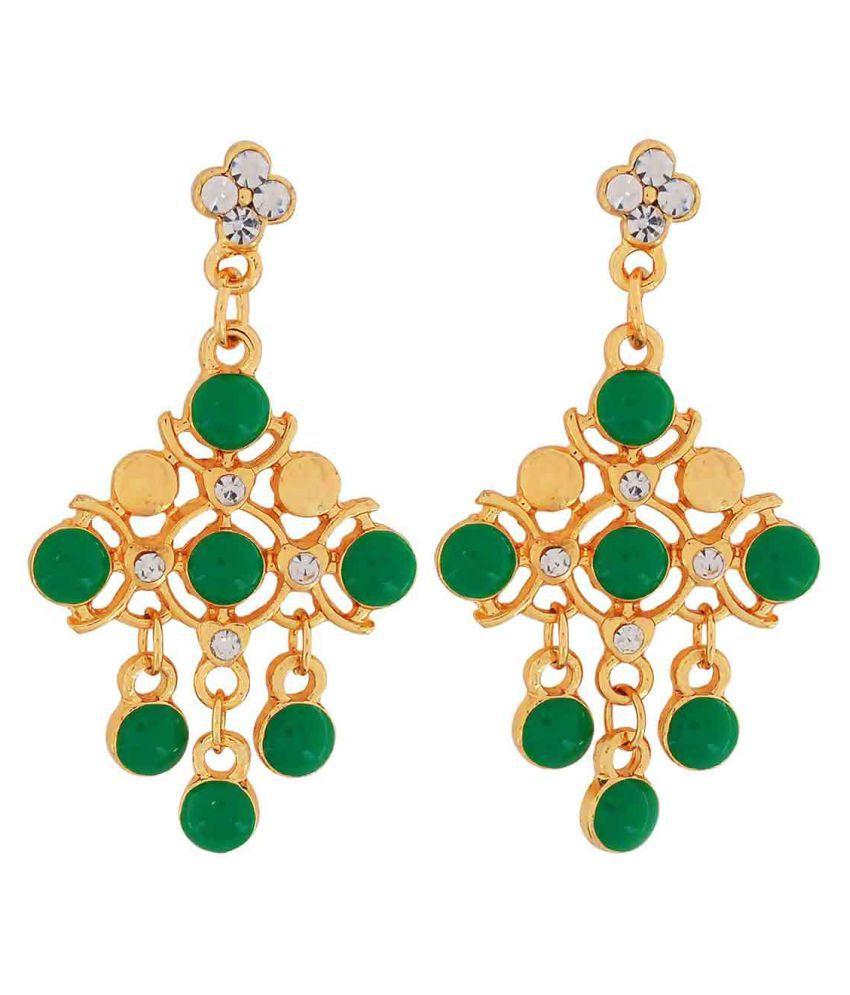 Maayra Enamel Earrings Green Dangler Drop College Fashion Earrings