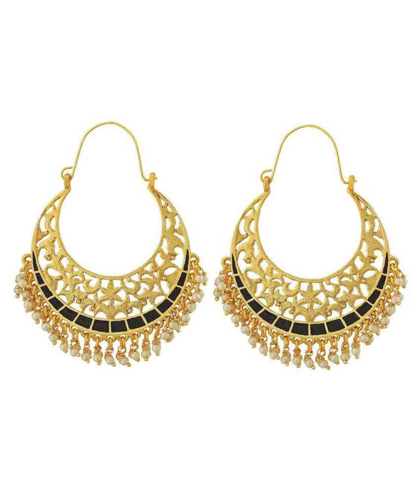 Maayra Filigree Pearl Earrings Black Hoops Festive Traditional Earrings