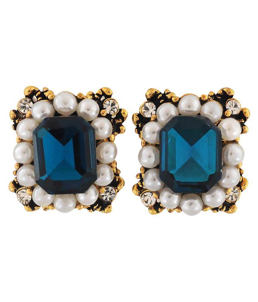 Maayra Pearl Earrings Blue Ear Studs College Fashion Earrings