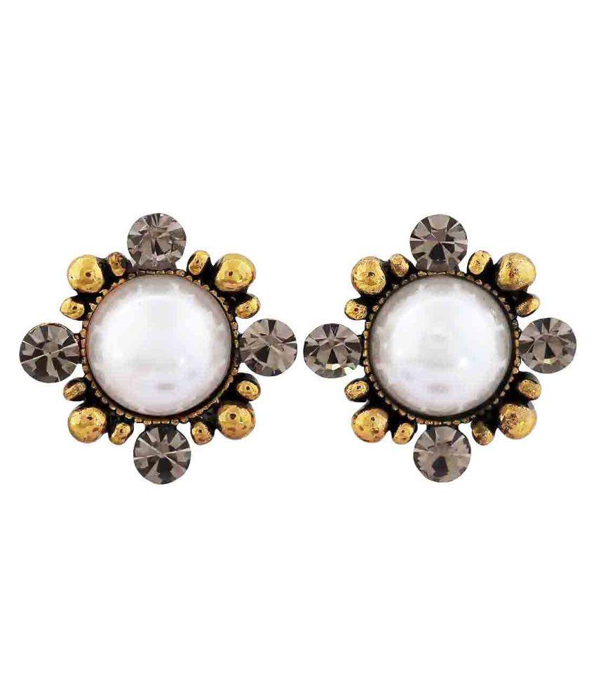 Maayra Pearl Earrings White Grey Ear Studs Office Casualwear Earrings