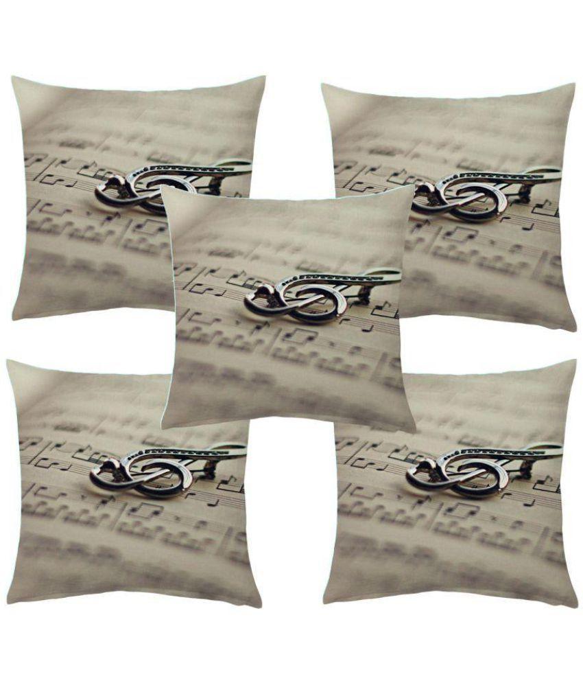 Manisha Fab Set of 5 Jute Cushion Covers 40X40 cm (16X16)