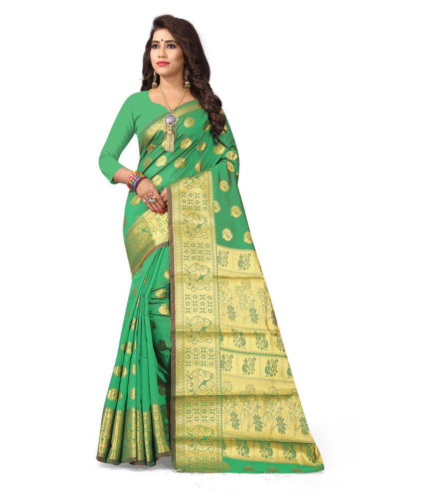 Multi Retail Green Cotton Silk Saree