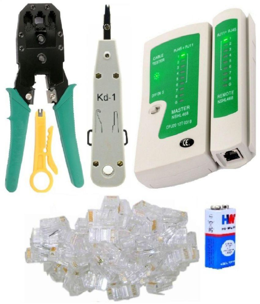 55pc Combo Crimping Tool Kit with 3 in 1 Modular Crimping Tool + Network Cable Cutter Wire Stripper + Networking LAN Cable Tester RJ45 / RJ11 / RJ12 /