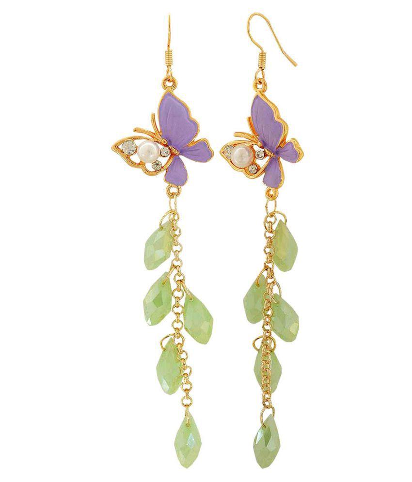 Maayra Hanging Butterfly Earrings Purple Green Drop College Fashion Earrings