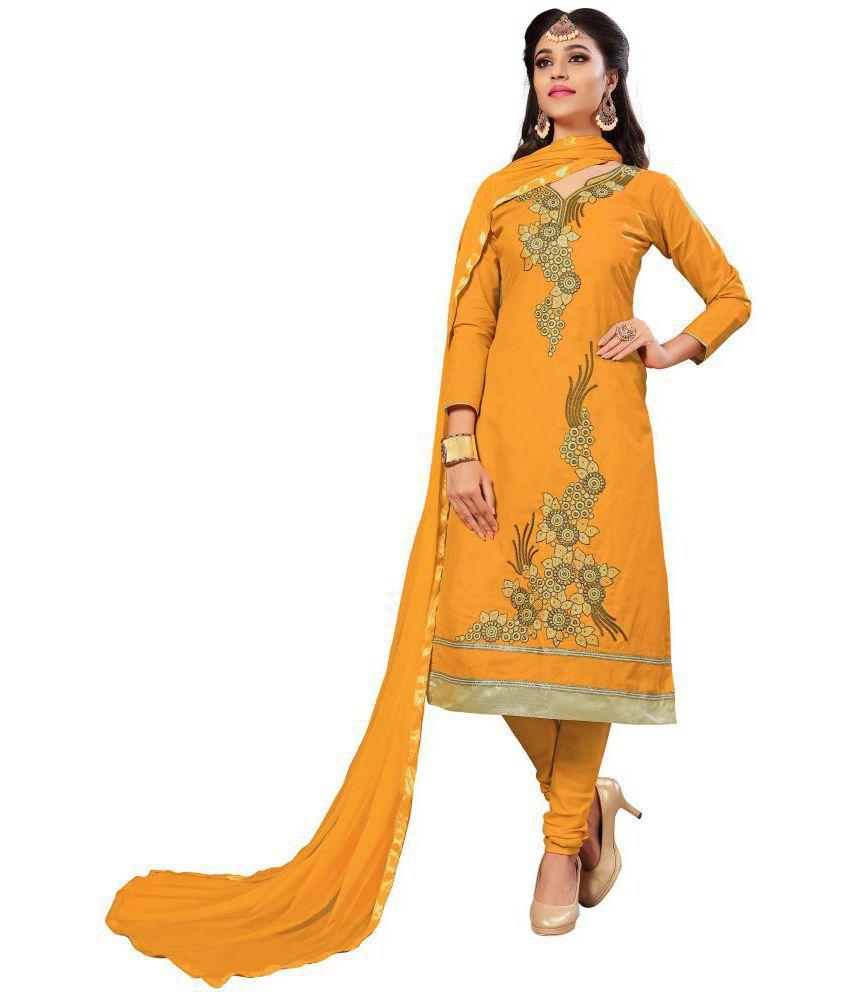 Ujjwal Creation Yellow Cotton Dress Material