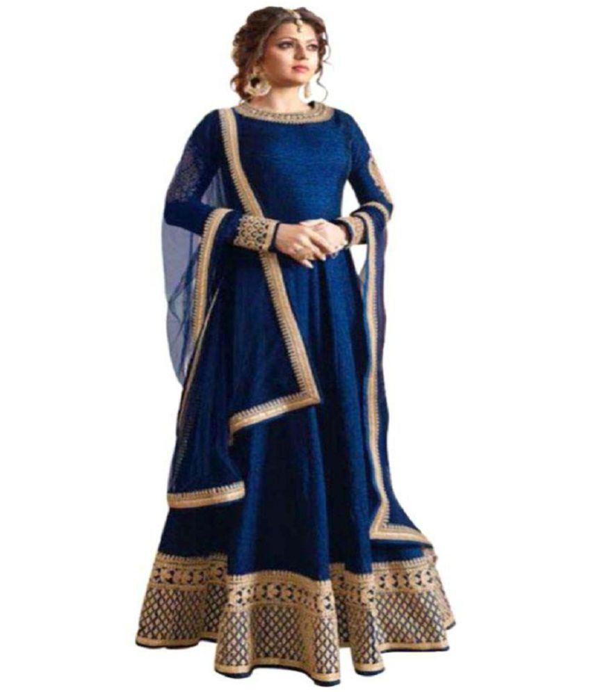 b0e468ed3c3d YOYO Fashion Blue and Beige Bangalore Silk Anarkali Gown Semi-Stitched Suit  - Buy YOYO Fashion Blue and Beige Bangalore Silk Anarkali Gown  Semi-Stitched ...