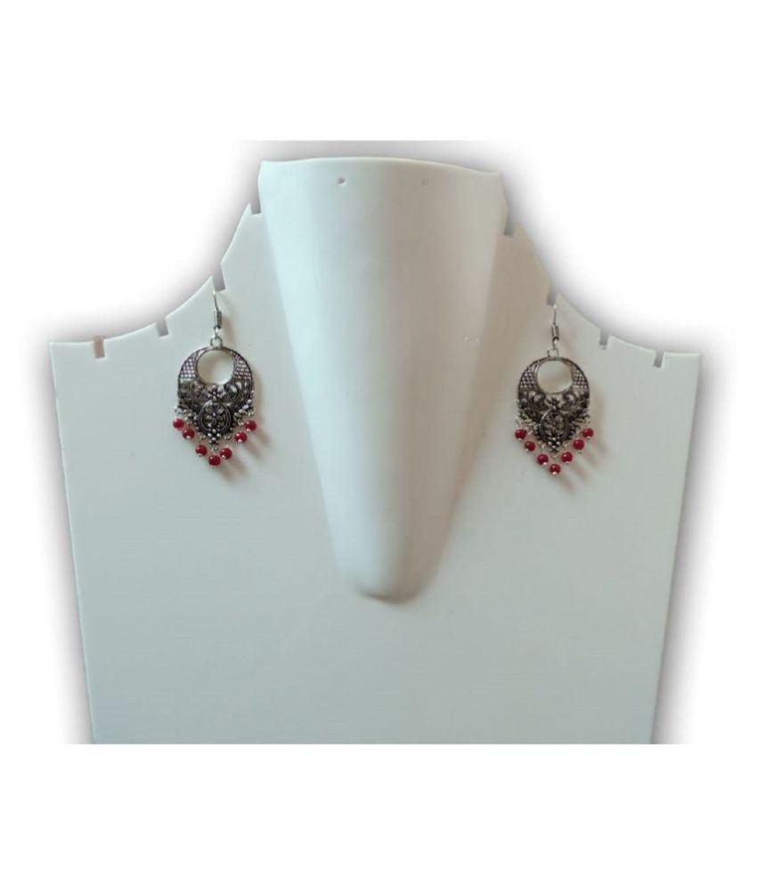 Women & Girls German Silver Afghani Tribal Antique Design Maroon Long Pearl Earring - Perfect Gift For Mother, Wife, Sister, Girl Friend & Friend
