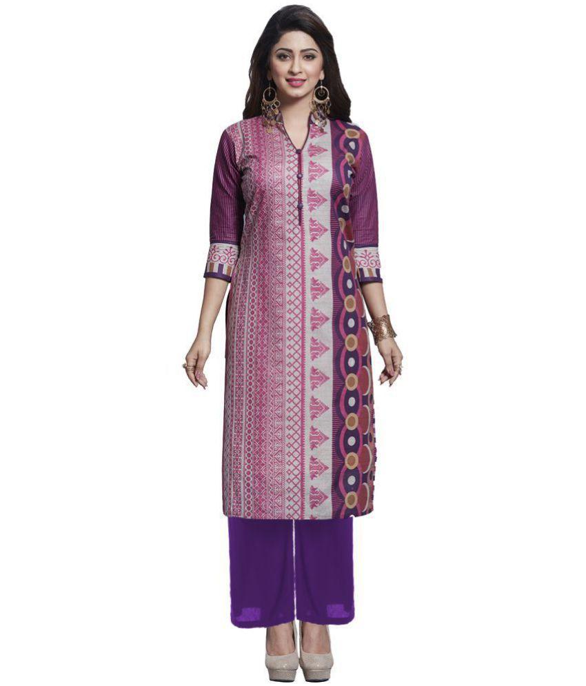 Ishin Purple Cotton Straight Stitched Suit