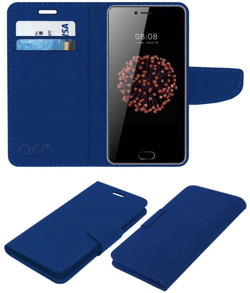 Kenxinda V7 Flip Cover by ACM - Blue Wallet Case,Can store 2 Card/Cash