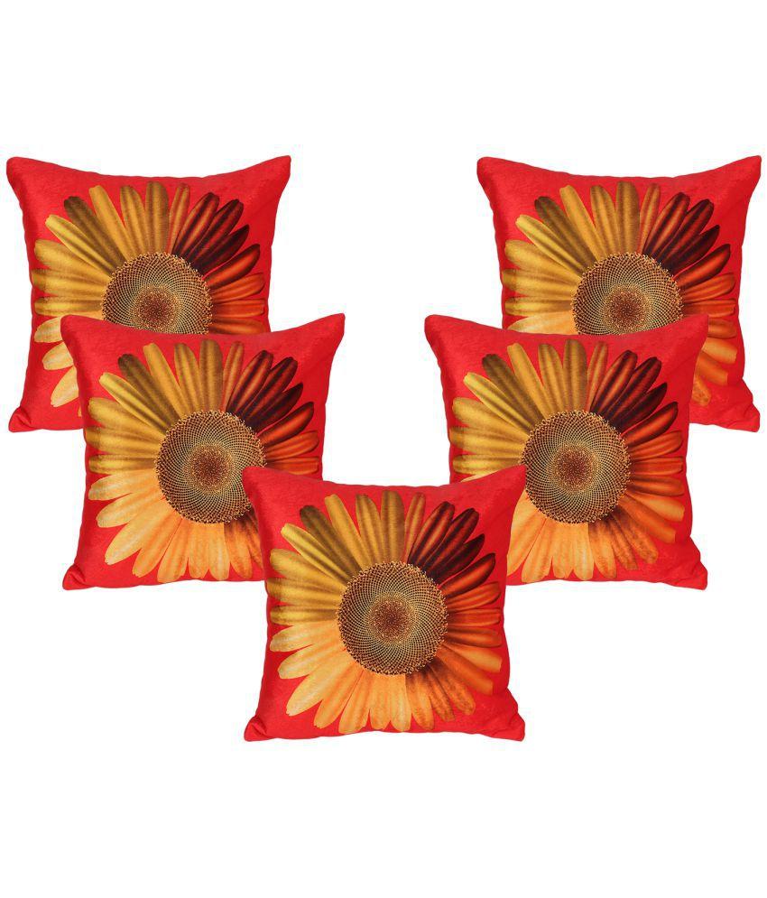 Vinayaka Set of 5 Velvet Cushion Covers 40X40 cm (16X16)