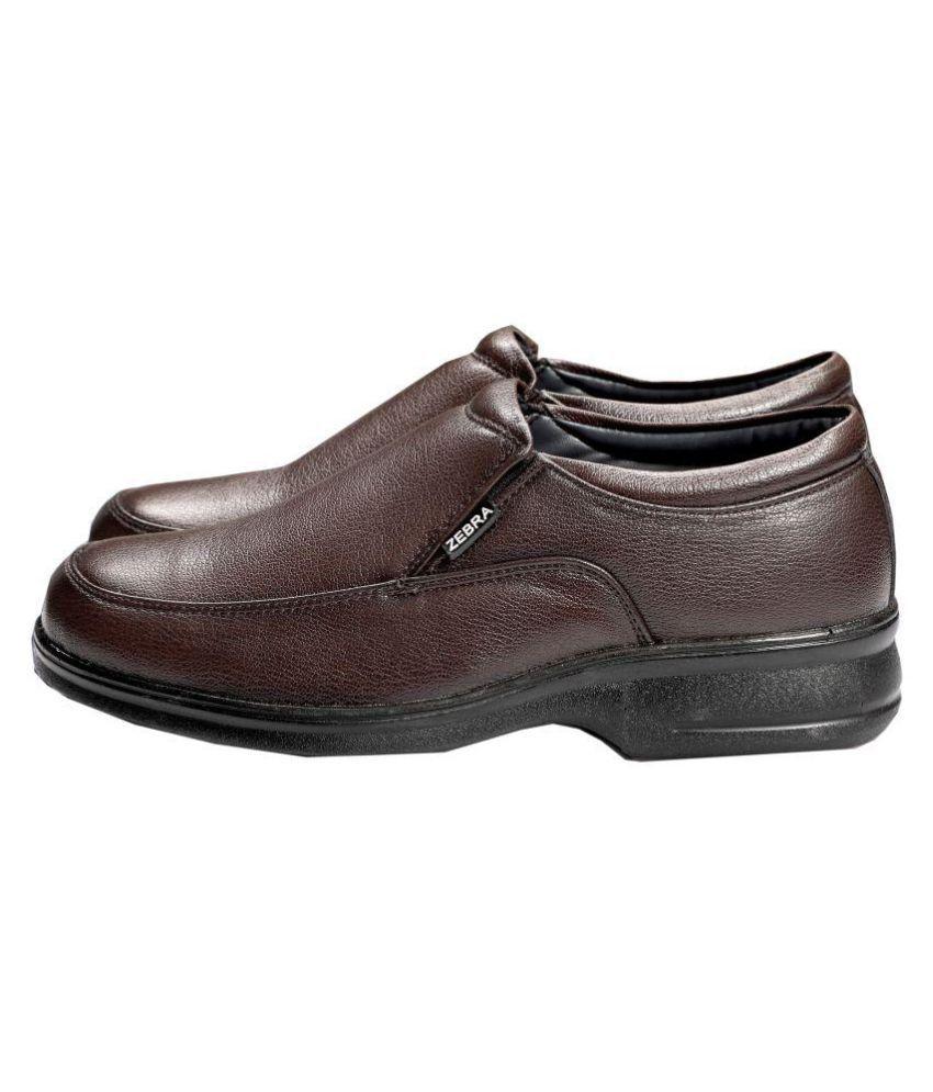 Zebra Slip On Brown Formal Shoes