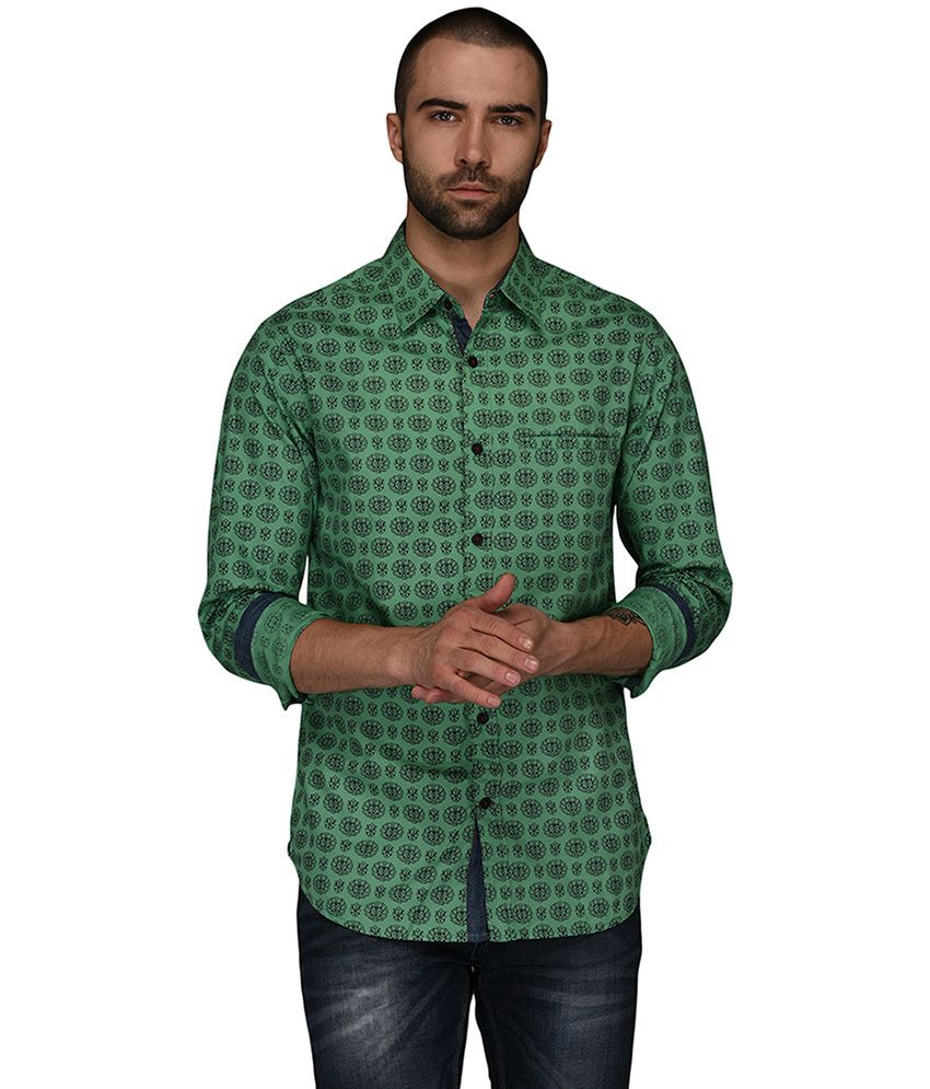 Greenfibre Green Slim Fit Shirt Single