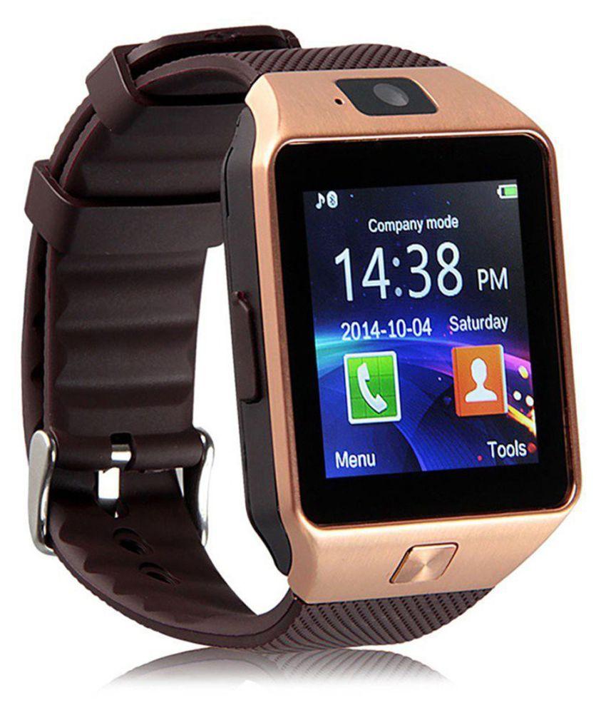 Bastex Smartwatch Suited Intex Aqua 4G Strong Dz09 Golden Smart Watches