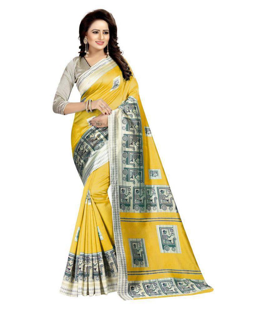Urban India Yellow Art Silk Saree