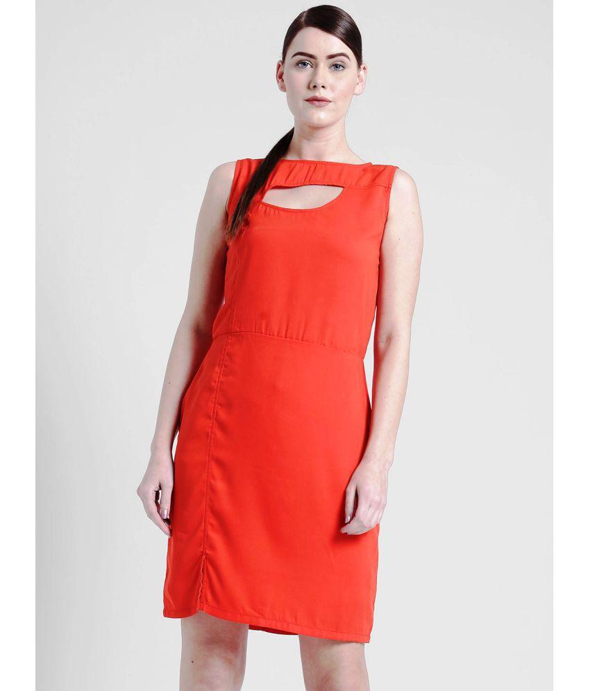 Yaadleen Polyester Red Sheath Dress
