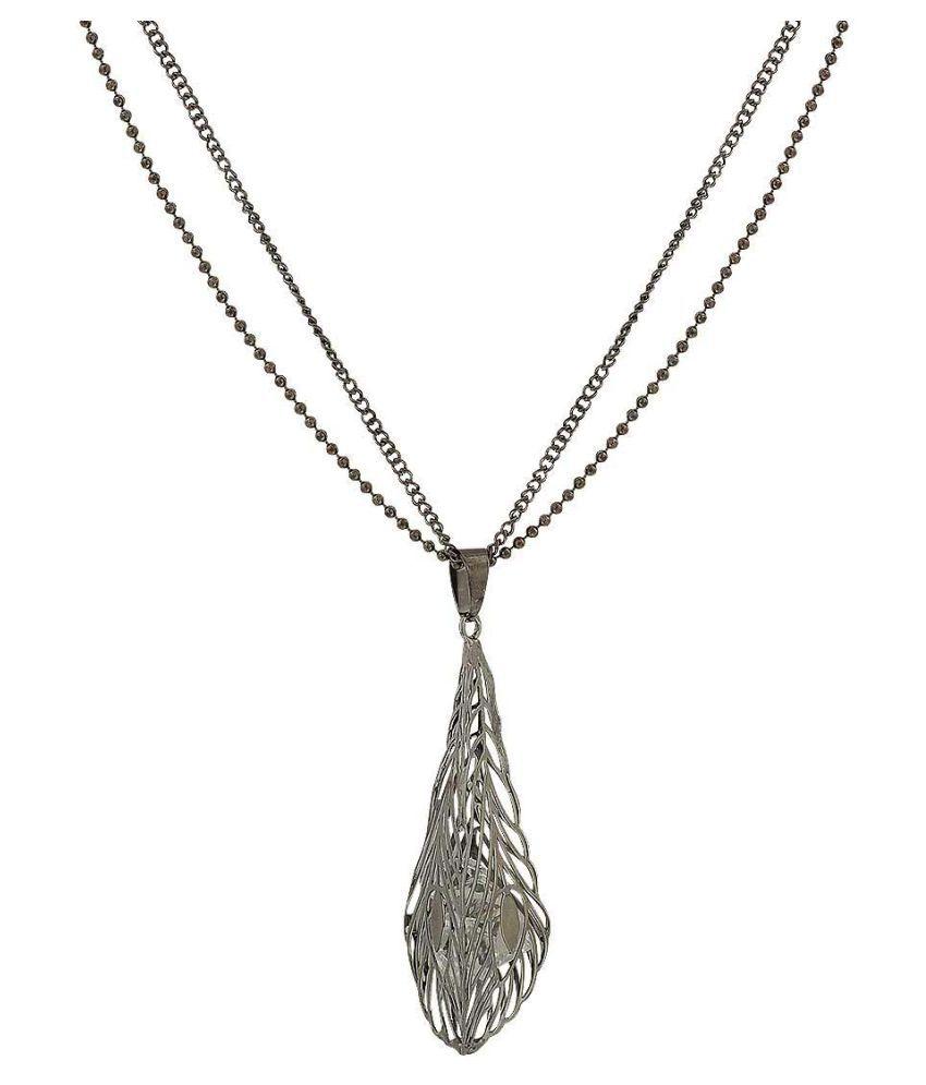 Maayra American Diamond Neckpiece Grey Treasure Trove shape Party Neckpiece