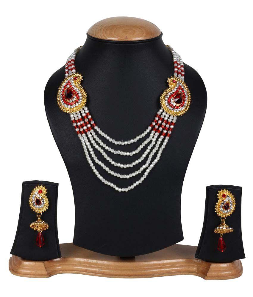 Jewels Gold Party Wear Fashion Designer Unique Traditional Latest Stone Necklace Set