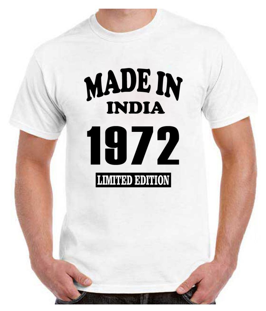 RITZEES White Dry Fit Polyester Birthday Tshirt on Made in India 1972 -L