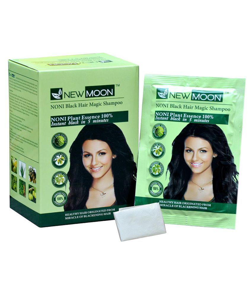 New Moon Noni black hair  magic shampoo no amoniya Permanent Hair Color Black 30 ml Pack of 10
