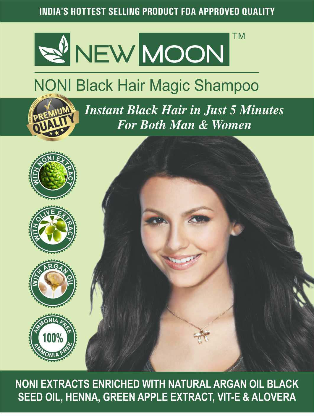New Moon Hair Dye Shampoo For Women Permanent Hair Color Black 30 Ml