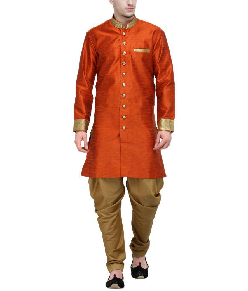 RG Designers Orange Silk Blend Sherwani
