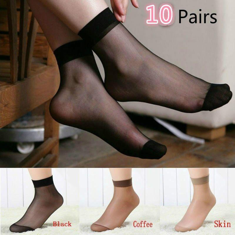 Summer lady ultrathin crystal silk socks on silk stockings socks on a short night(10 Pairs)