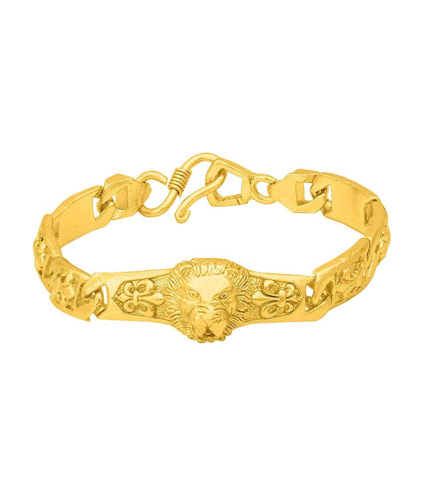 3dbb70bf20891 Dare by Voylla Lion Designer Yellow Gold Plated Bracelet For Men
