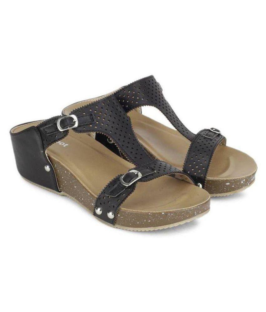 My Foot Black Wedges Heels