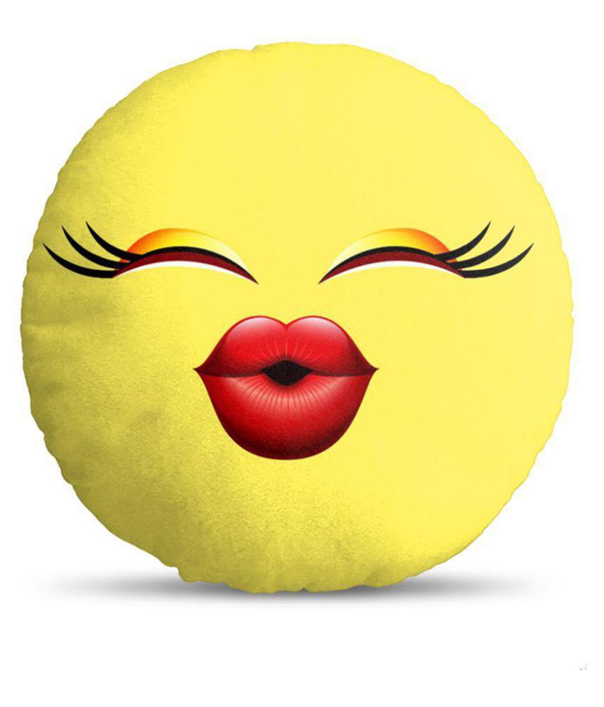 Smiley Cushion Emoji By Mukesh Handicrafts Velvet Fabric Soft