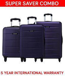 Safari Re-Gloss Anti Scratch Purple Set of 3 Small, Medium & Large Trolley Bag Hard Branded Luggage