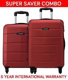 Safari Re-Gloss Anti Scratch Red Set of 2 Small, Medium Trolley Bag Hard Branded Luggage