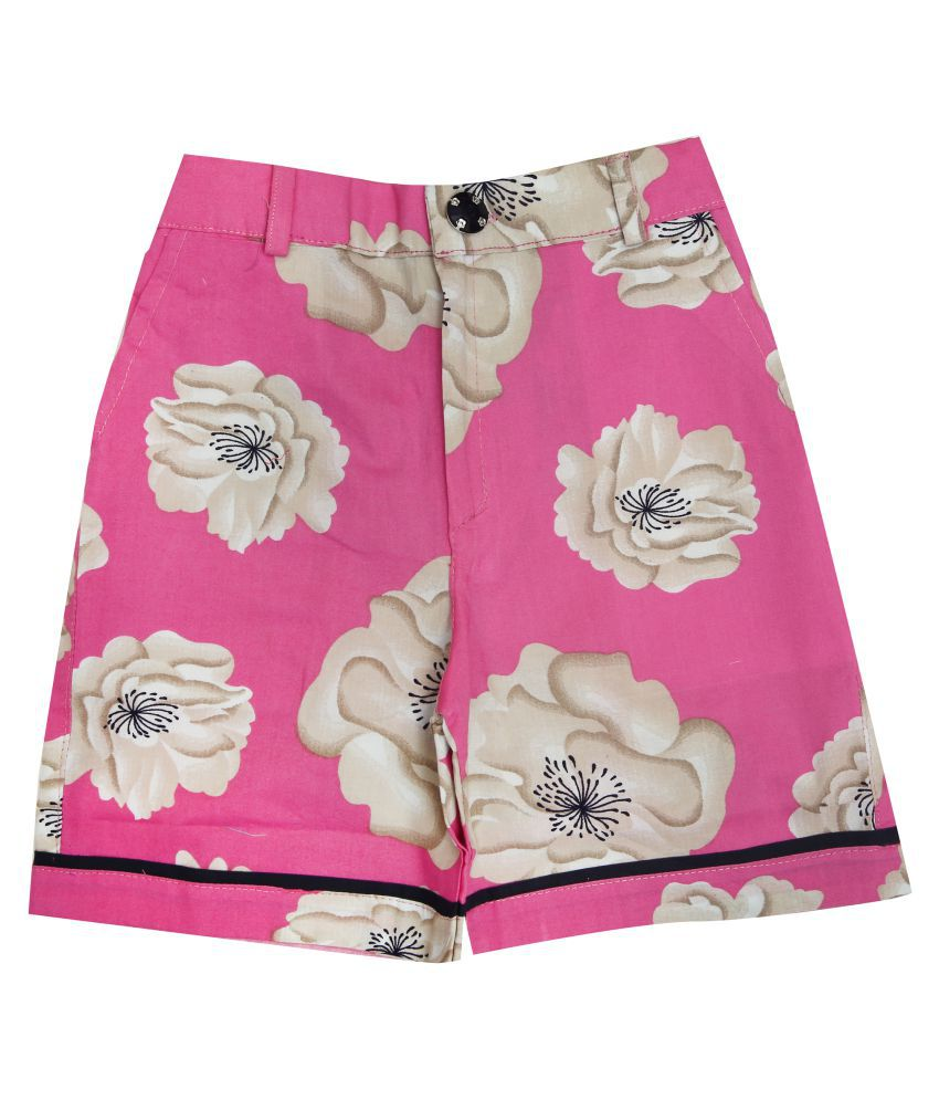 Zadmus Girls Cotton Printed HotPant (Pink,4 - 5 Years)