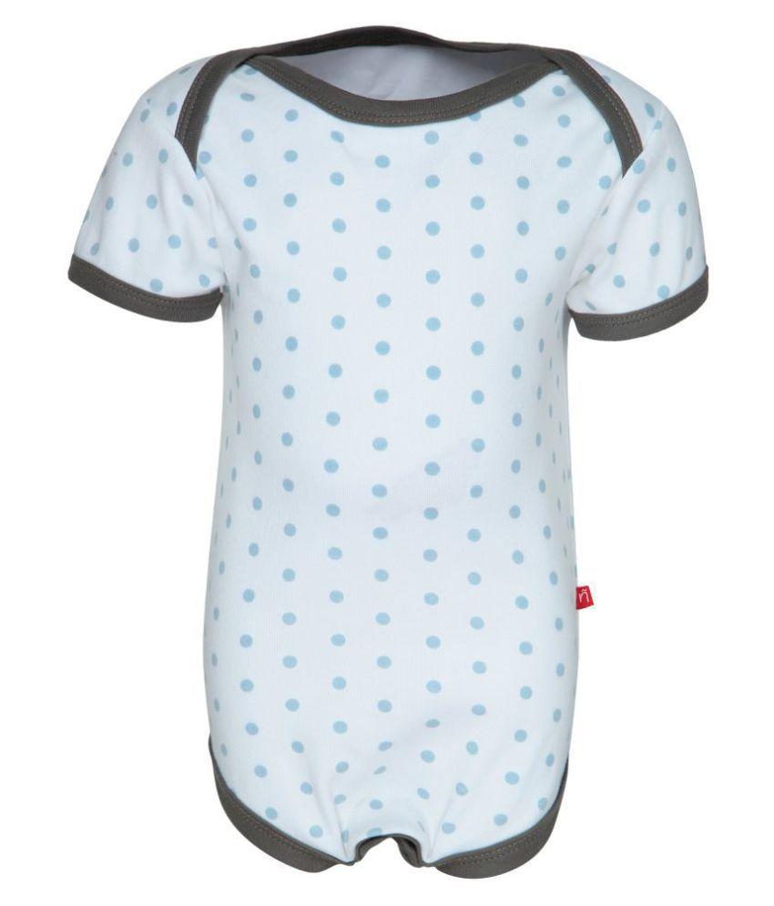 Nino Bambino 100% Pure Organic Cotton Round Neck Short Sleeve Blue and White Printed Bodysuits For Baby Girls