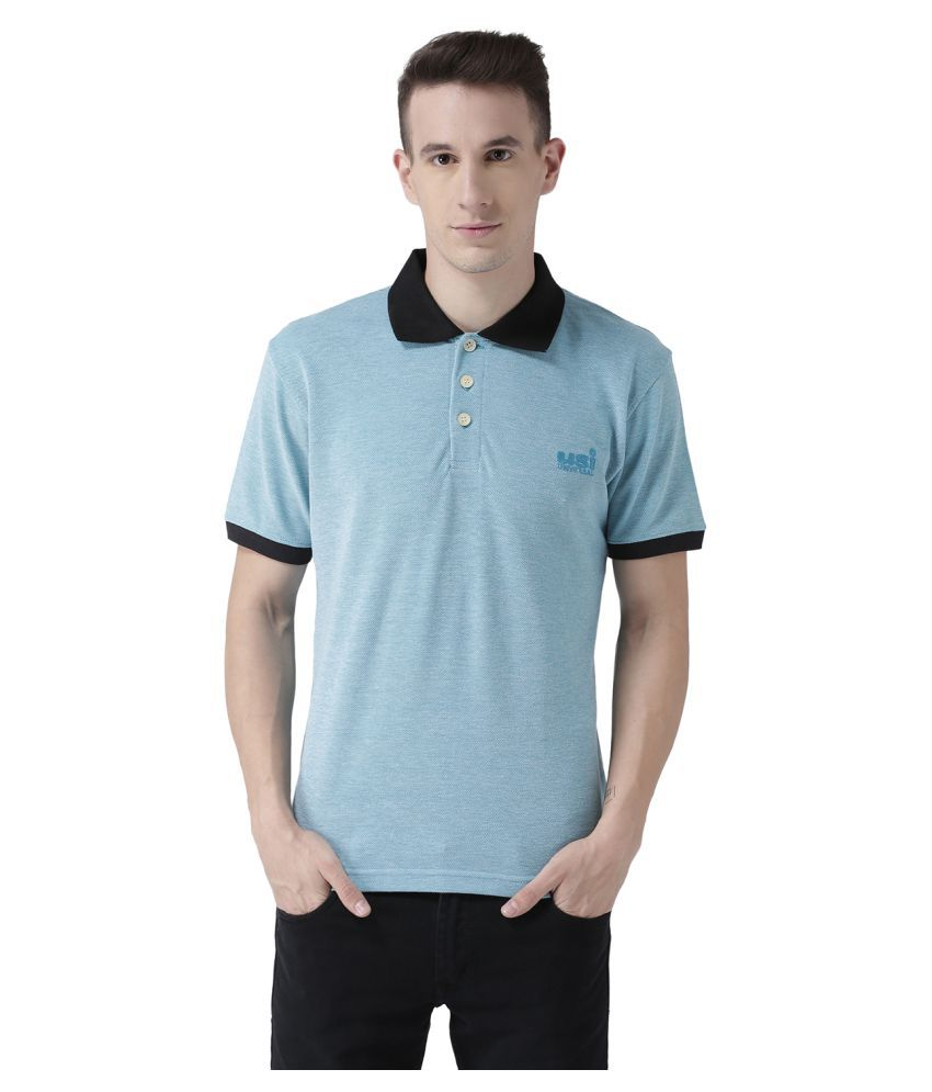 USI UNIVERSAL Aqua Coloured Mens T-Shirt