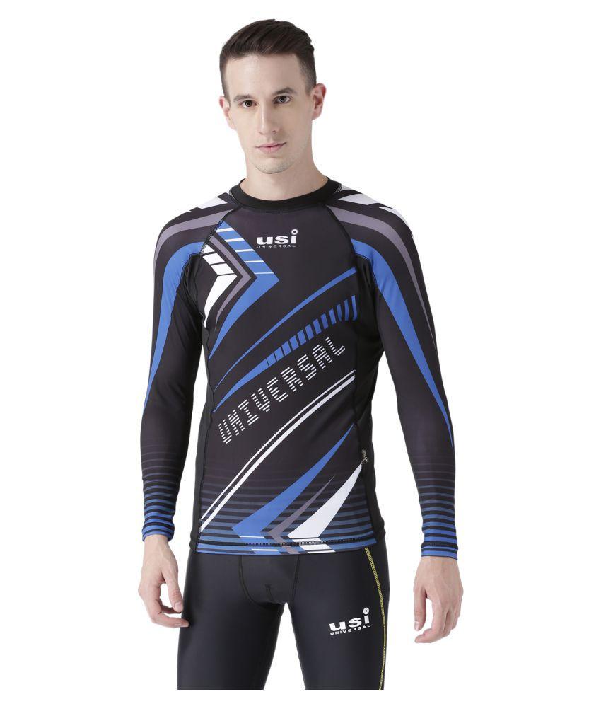 USI UNIVERSAL Black, Blue And White Coloured Mens T-Shirt