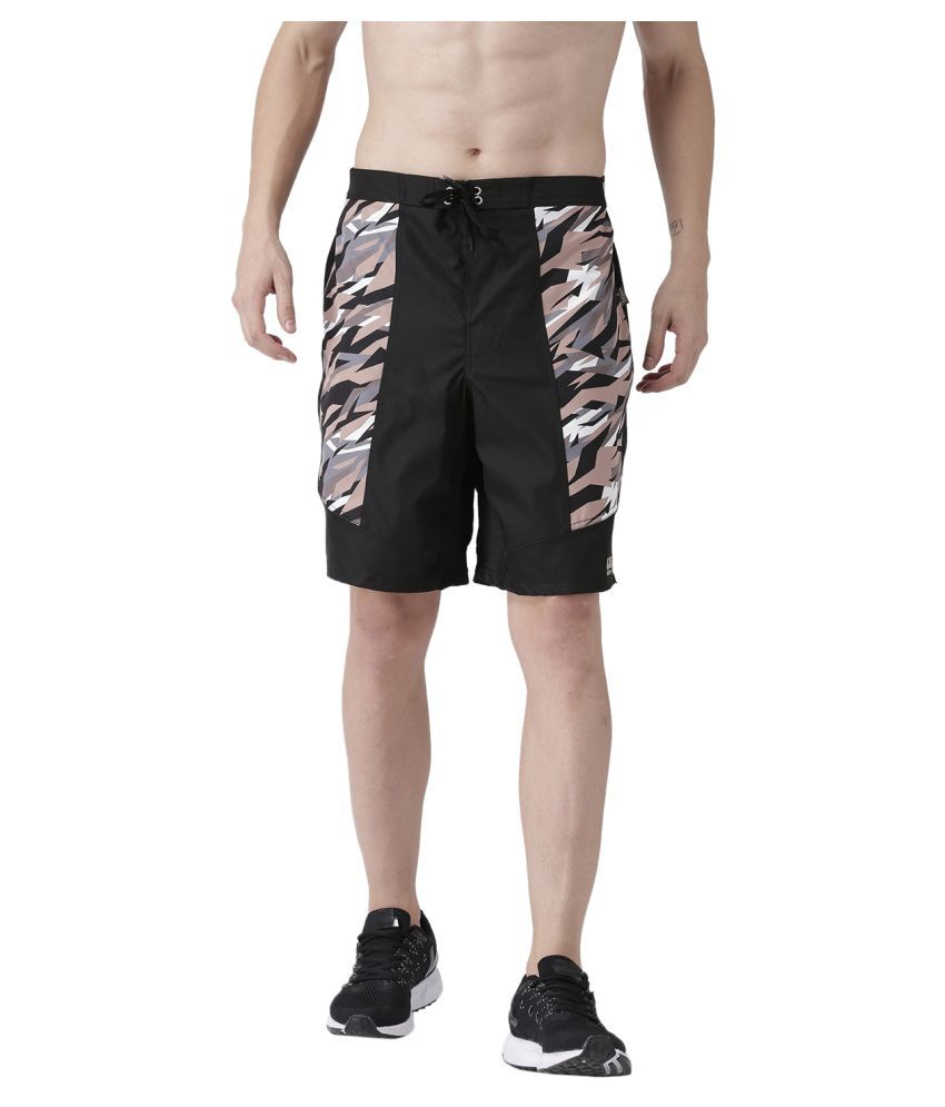 USI UNIVERSAL Black And Brown Camo Coloured Mens Shorts