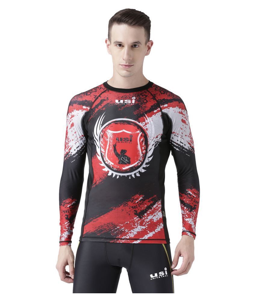 USI UNIVERSAL Black And Red Coloured Mens T-Shirt