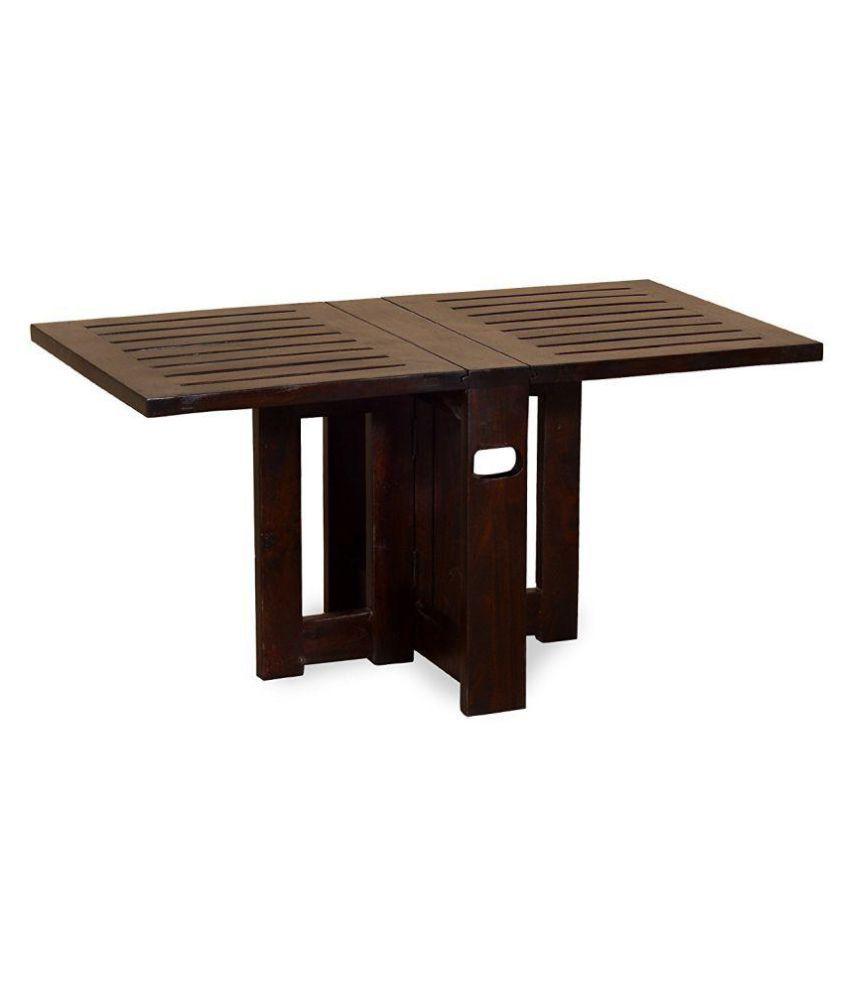 Angel S Solid Wood Folding Coffee Table Center Compact Design Sheesham Walnut Finish