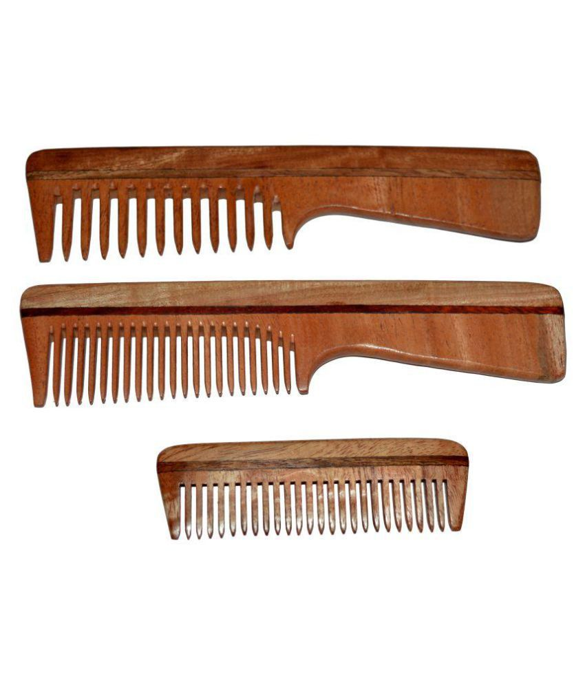 Blithe Neem Wood Comb Wide Tooth Comb Pack Of 3