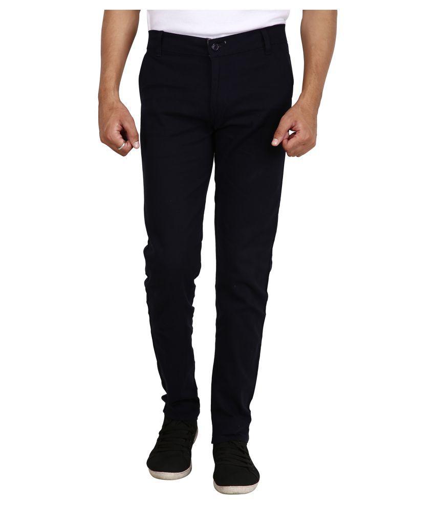 REDMAPLEJEANS Navy Blue Regular -Fit Flat Trousers