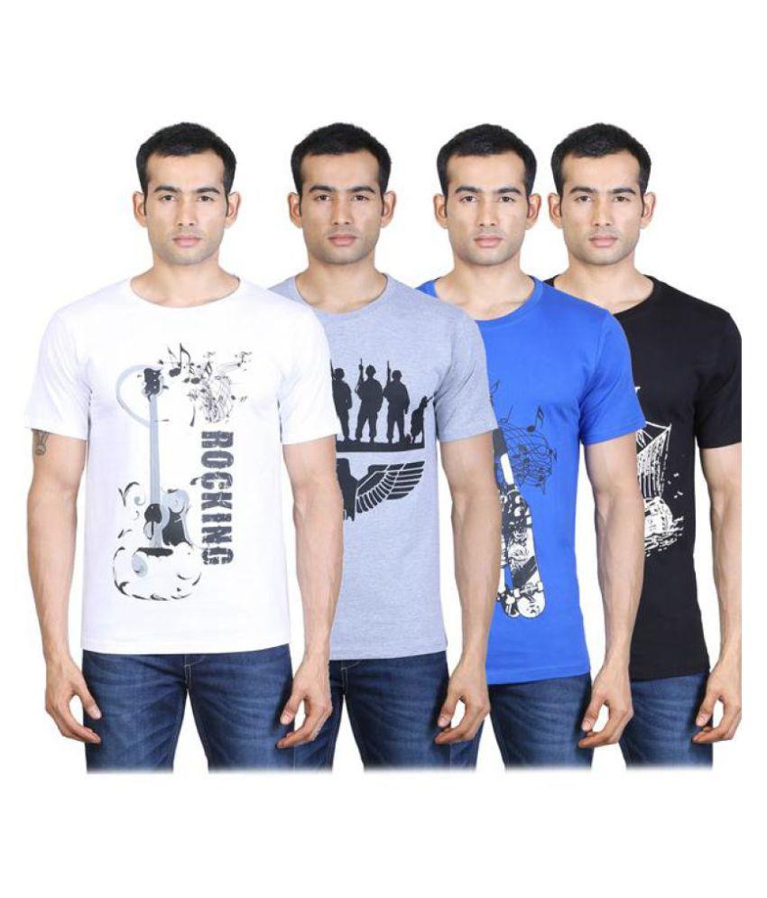 Tribal Bull Multi Round T-Shirt Pack of 4