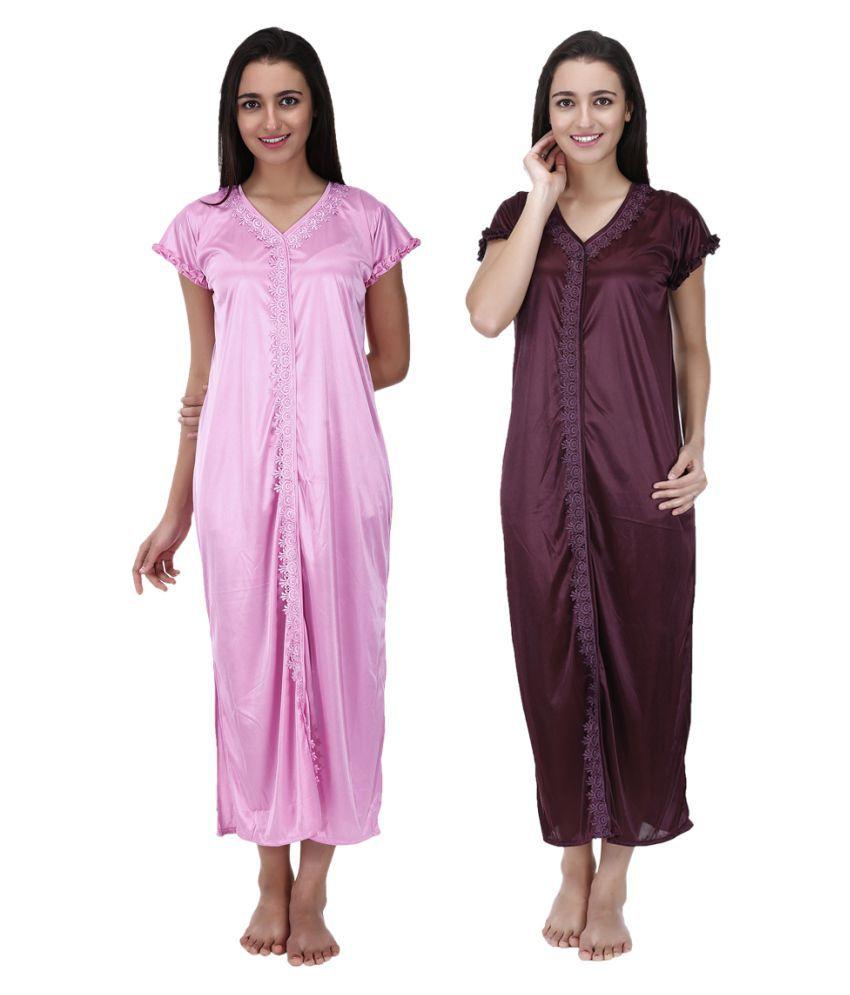 MUASSA Poly Satin Nighty & Night Gowns