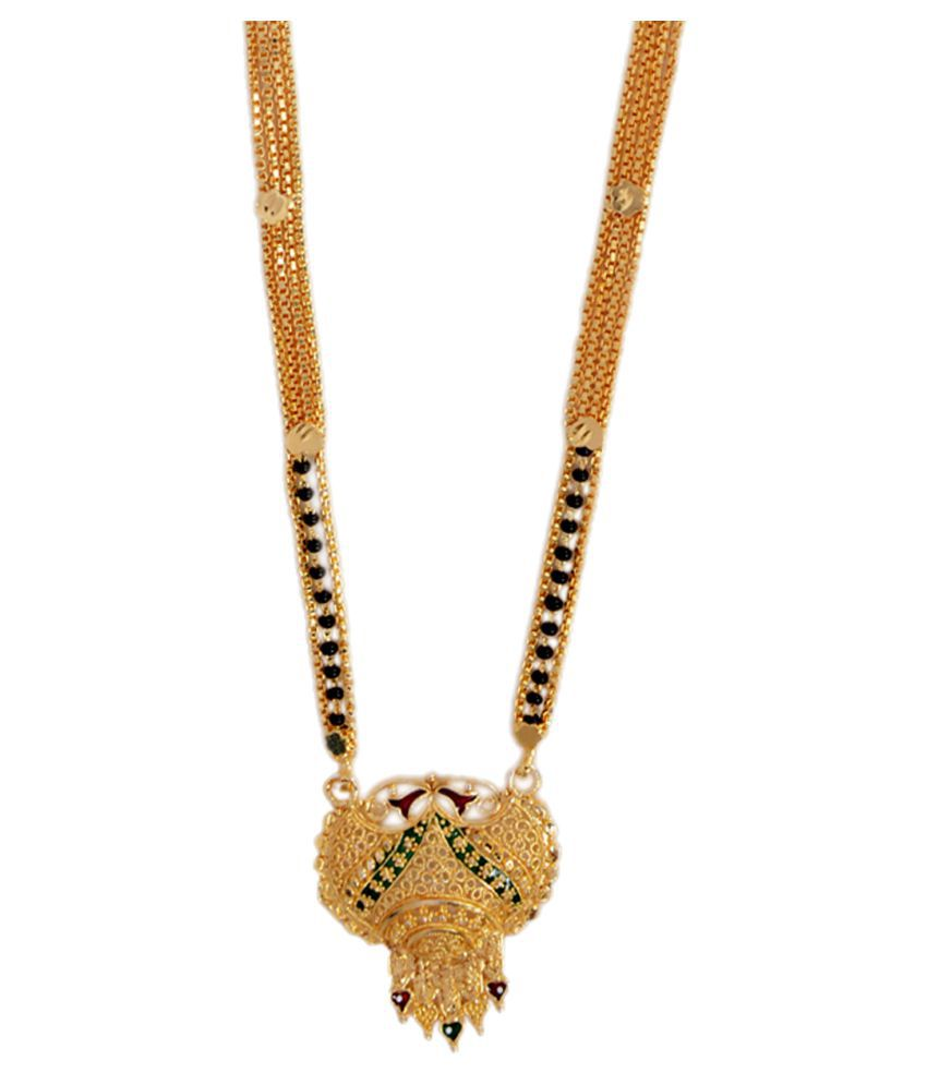 Mansiyaorange Traditional Latest Original Look Long Golden Mangalsutra For Women