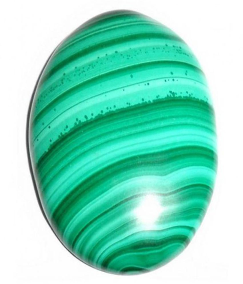 Tejvij And Sons 3.25 -Ratti Self certified Green Malachite Semi-precious Gemstone
