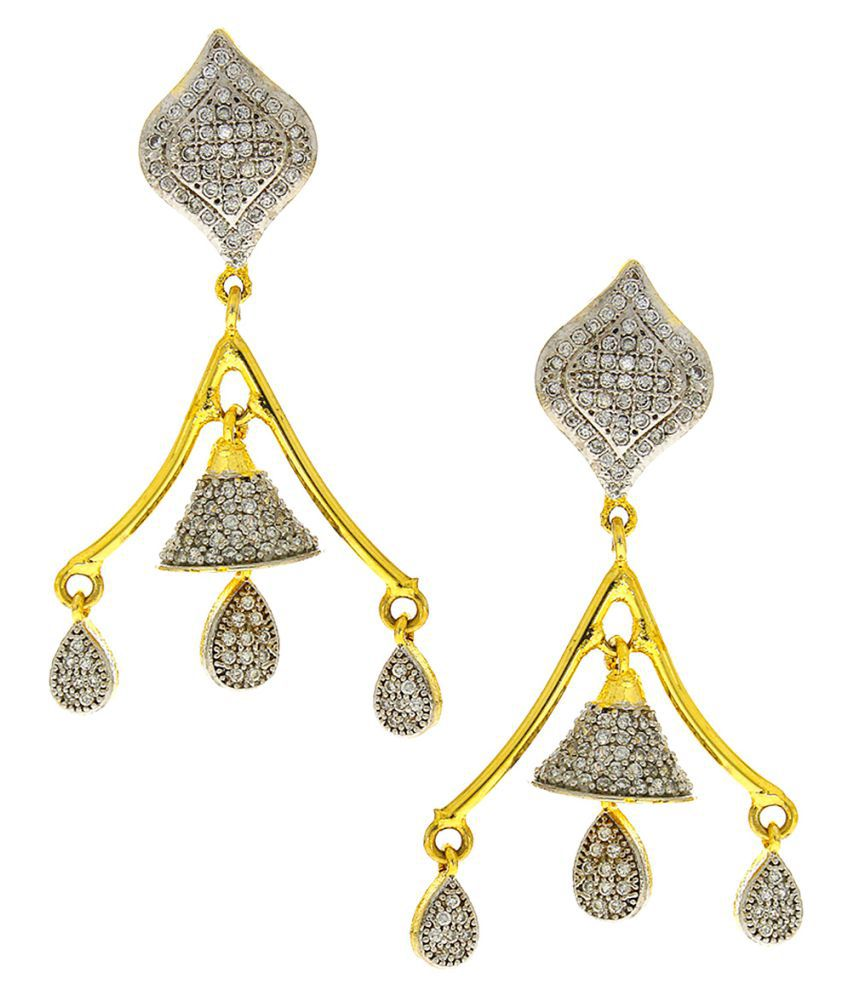 Anuradha Art Golden Finish Studded American Diamonds Stone Traditional Earrings For Women/Girls.