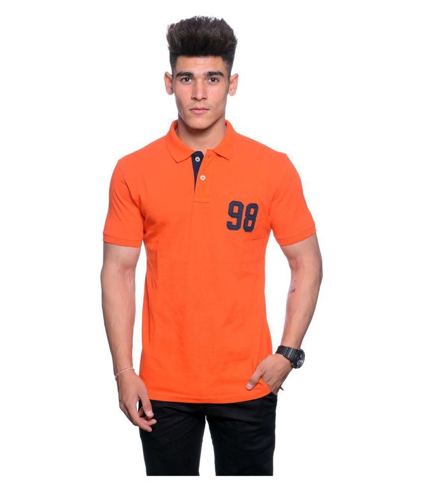 Hunkmart Orange High Neck T-Shirt