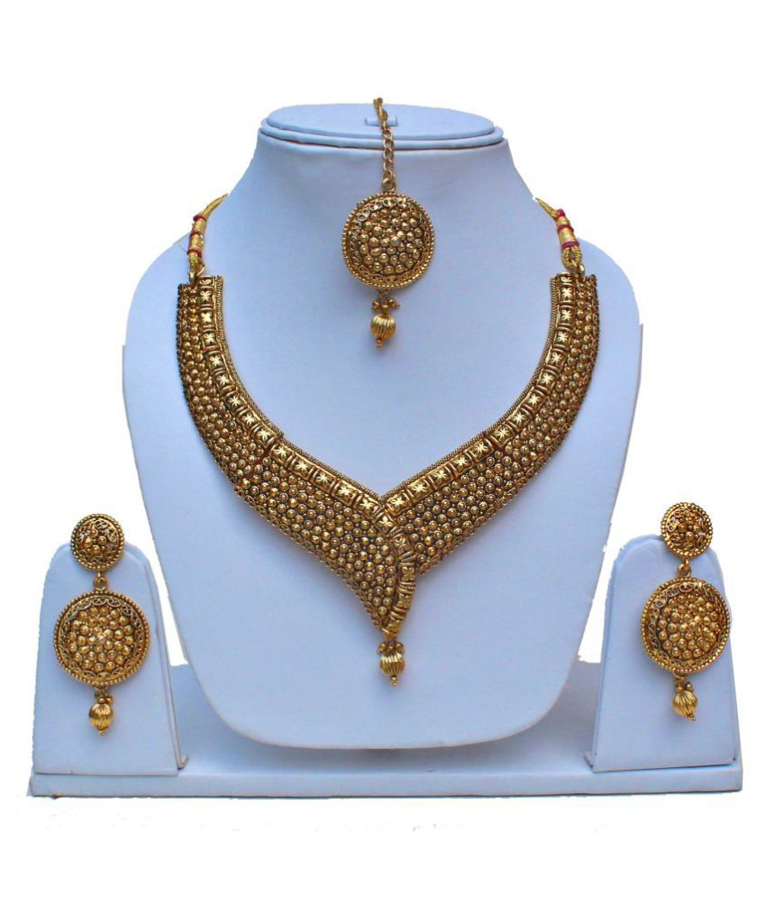Lucky Jewellery Delicate Copper Gold Plated Designer Necklace Set With Earrings And Maang Tikka